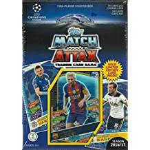 2016 2017 Topps UEFA Champions League Soccer Match Attax Trading Card Game Sealed Two Player Starter Box with 38 Cards and a Bonus Gold Limited Edition Lionel Messi Card