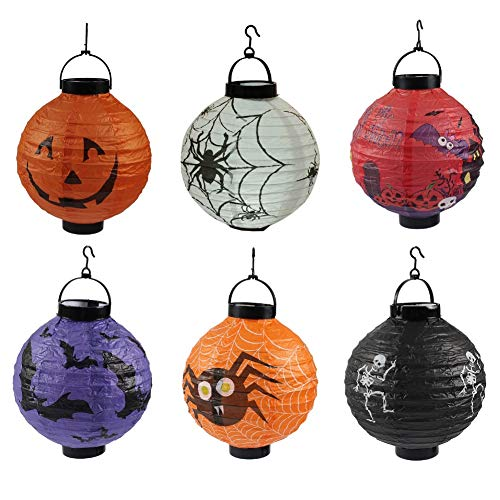 CheeseandU Halloween Hanging Decoration 8 Pack Halloween Paper Lanterns with LED Light & Hook Jack Pumpkin Spider Skeleton Pattern Lantern Perfect for Halloween Party Haunted House Hotel Club Bar