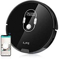 ILIFE A7 Robotic Vacuum Cleaner with 600ML Big Dustbin, LCD Display, Multi-Task Schedule Function, Smart Phone APP Control and Higher Suction Power for Hard Floor and Thin Carpets