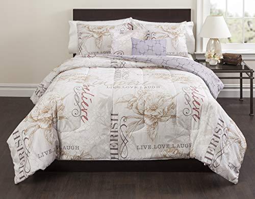 Magnolia Comforter Set - Casa Live Laugh Love 5 Piece Comforter Set, Full, Ivory