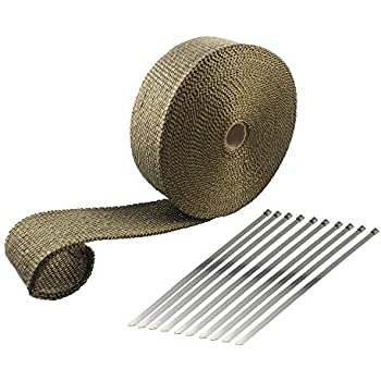 ARTR Titanium Lava Fiber 2 Inch x 50 Feet Exhaust Header Wrap Kit with 10pcs 11.8 Inch Stainless Locking Ties