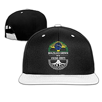 AJHGD Brazilian Grown with Viking Roots Unisex Hip Hop Flat Bill Snapback Hats Contrast Color Baseball Cap for Women Men