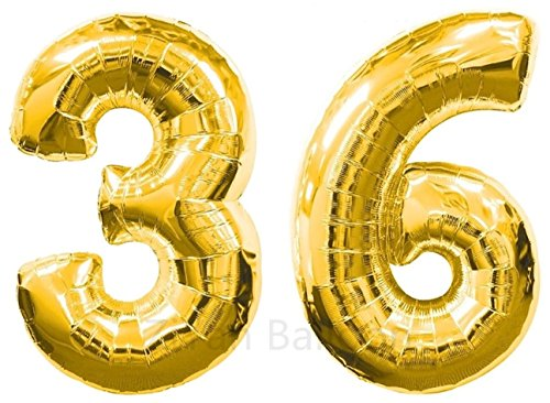 ZIYAN 40 Inch Giant 36th Gold Number Balloons,Birthday / Party -