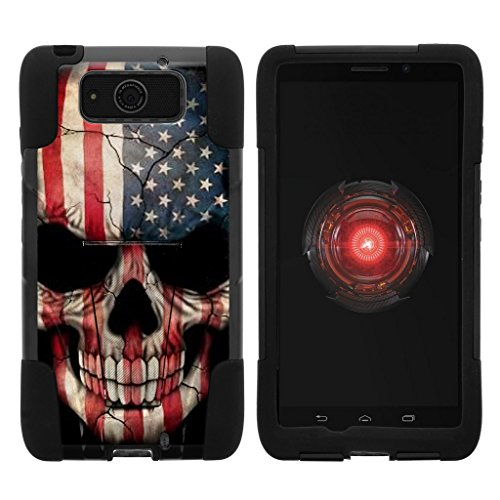 TurtleArmor | Compatible with Motorola Droid Maxx Case | Droid Ultra Case | XT1080 [Gel Max] Hybrid Dual Layer Hard Shell Kickstand Silicone Case - US Flag Skull