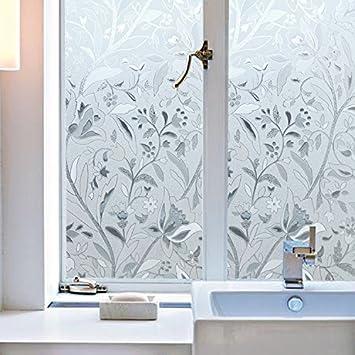 Flores Película de ventana Lámina de vinilo acido arenado traslucido Pegatina de Ventanas Privacidad para cristal, manmpara,ventana,etc.: Amazon.es: Hogar