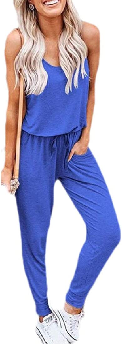 Jmwss QD Womens Elastic Waist Jumpsuits Sleeveless Summer Romper with Pockets