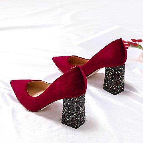 Xue Qiqi Rote Schuhe mit Fett hohen Absätzen Frauen mit Fett mit und vielseitige Tipp, Professionelle single Schuhe Frauen 8 cm rot dd8ed4
