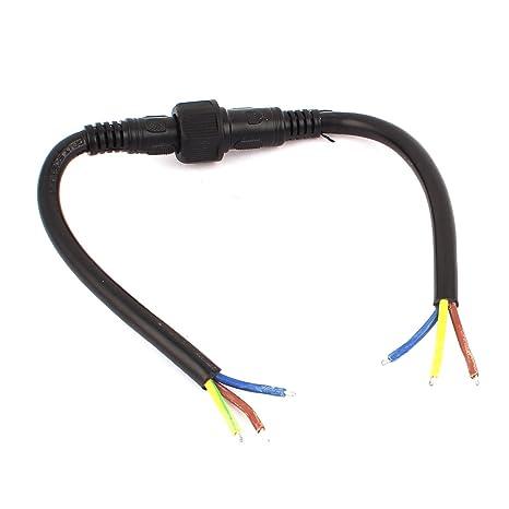 sourcingmap Par 3P macho a hembra Bujía Impermeable Cable Conector para LED Tiras