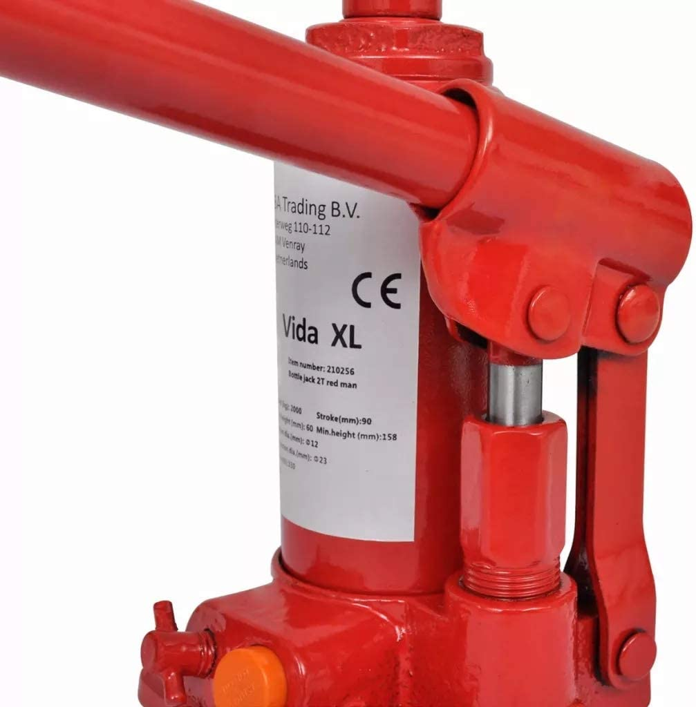 Hydraulischer Wagenheber 2 Tonnen Kapazit/ät Heavy Duty vertikal Hydraulischer Flaschenwagenheber f/ür Auto Van Boot rot 9,5 x 9,5 x 16 cm