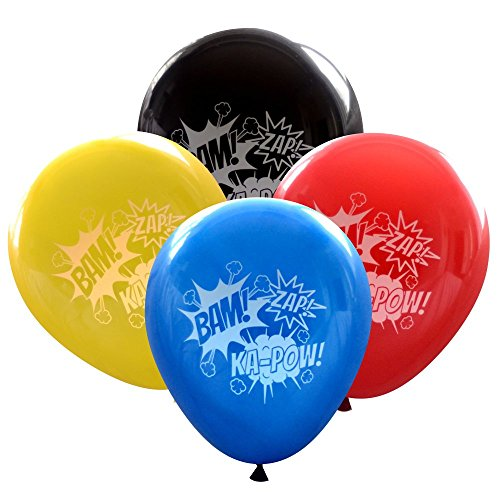 Nerdy Words Super Hero Balloons (16 pcs) Bam Zap Ka-Pow Sound Effects (Comic Book Colors)