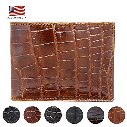 Cognac Glazed Genuine Alligator RFID Wallet - American Factory Direct - Made in USA by Real Leather Creations FBA734 TT
