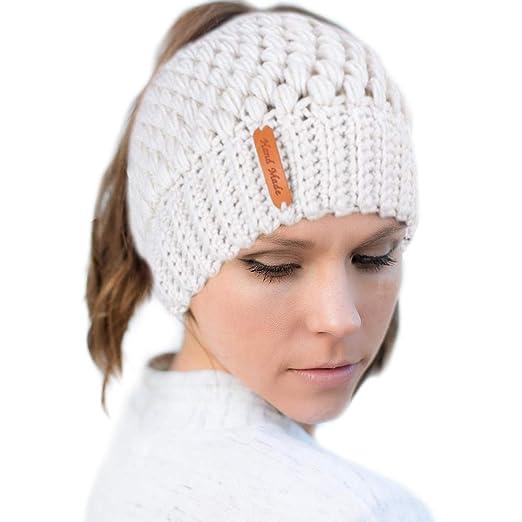 665b2ad703b TiiMi PartyWomen Ponytail Messy Bun Beanie Hat Knit Handmade Winter Warm  Bun Hat Cap Stretch Crochet