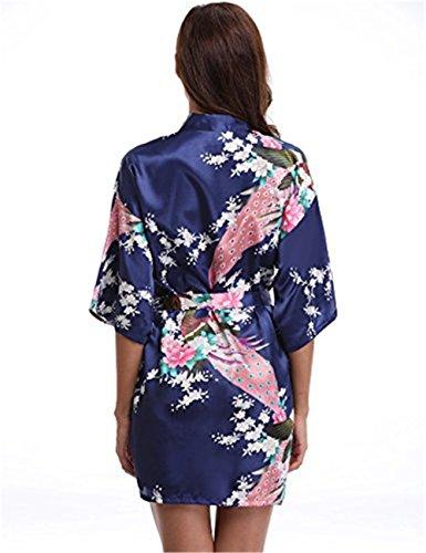 Fiori Mailanda Blu V a Scollo Pigiama Très Scuro Notte Donna e con Chic Pavone Vestaglie Camicia Corte di Kimono da Stampa Retro Cintura q55H1