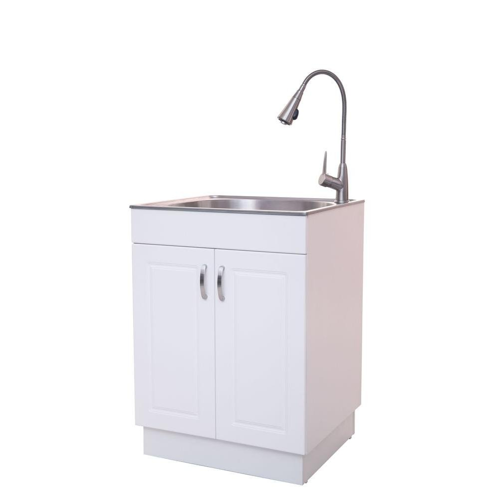 All-in-One 26 in. x 23 in. x 31 in. Stainless Steel Countertop Laundry/Utility Sink and Cabinet