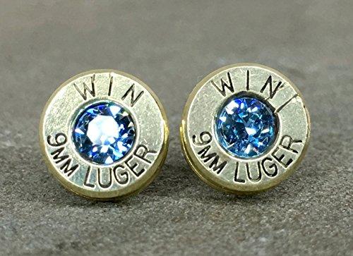 Bullet Earrings 9MM Bullet Jewelry Jewelry Shell Casings Steel Post Swarovski Aquamarine Primer Inset Stones