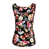 Anxinke Women Sleeveless T Shirts, Summer Floral Print Round Neck Tank Top (XXL)