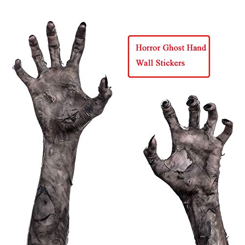Halloween Wall Stickers Decor Horror Ghost Hand Murals Zombie Handprint Wallpaper Removable PVC Decals for Window Home Bedroom Kitchen Living Room Offices Party Decoration Festive Atmosphere