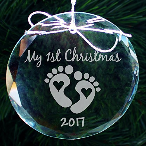 2017 Babys First Christmas Ornament, New Baby Handmade Crystal Holiday Ornaments - - Babys Ornament Personalized Christmas First