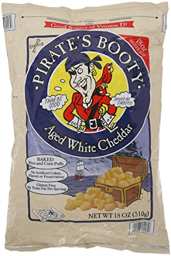 Pirate's Booty Aged White Cheddar 18 Oz (510g) Resealable Baked Rice & Corn Puffs Gluten Free (JUMBO SIZE) ()