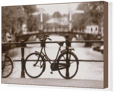 Lienzo impresión de bicicleta en un canal Puente, Amsterdam ...