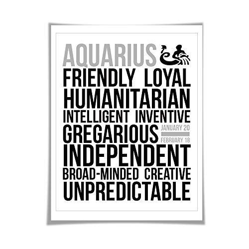 Aquarius Personality Character Traits Art Print. 60 Colours/5 Sizes. Astrology Zodiac Horoscope