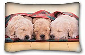 "Generic Personalized ( Animals puppies sleepings three mat ) Pillowcase Cover 20""X30"" One Side suitable for King-bed PC-Purple-33459"