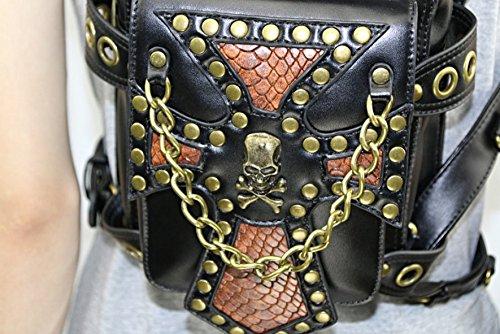 y Talla Roca Hombre Bandolera de fei Black1 Mujer única Wei negro Punk para diseño Bolso wxIXcZ7