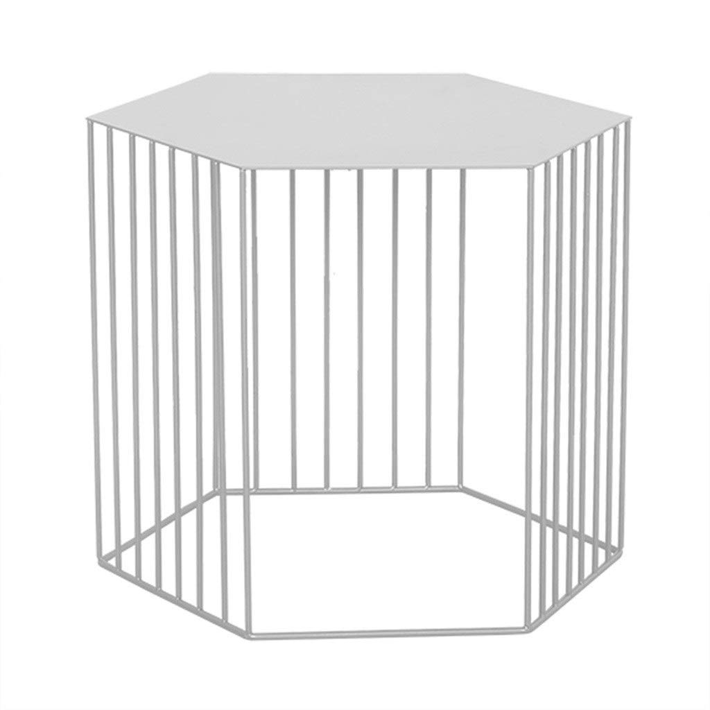 Hzpxsb Hexagon Metal Coffee Table Modern Simplicity Sofa Side Table Small Dining Table, for Living Room Bedroom Study Balcony Garden (Color : White, Size : 454538cm)
