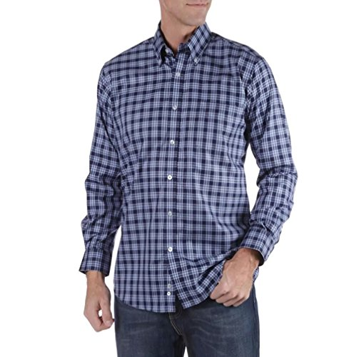Forsyth of Canada Classic Fit Non-Iron Long Sleeve Grid Check Sport Shirt (Cobalt, X-Large)