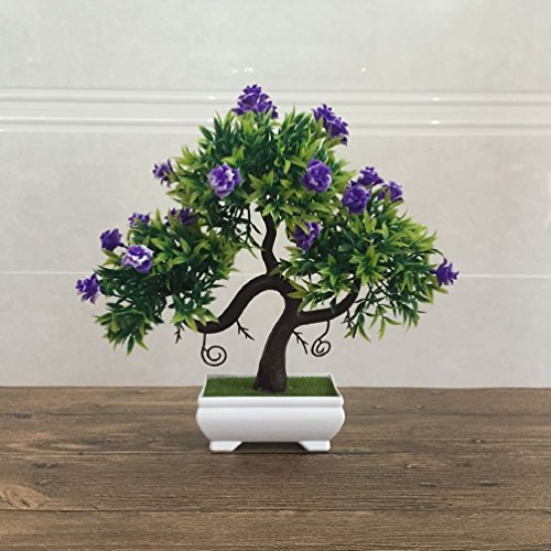 Tree Bonsai Pine White (Artificial Fake Flowers Plastic Green Plants Bonsai Tree Desktopdecor)