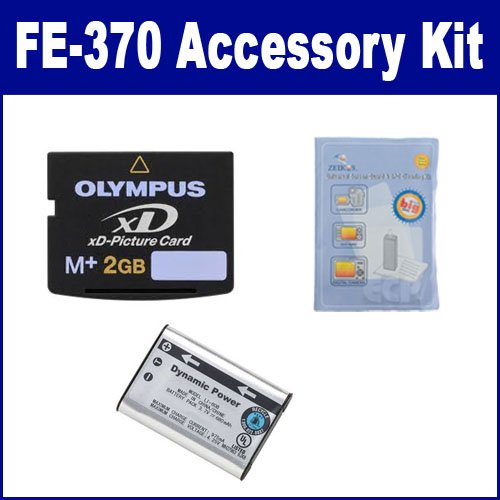 Olympus FE-370 Digital Camera Accessory Kit includes: ZELCKSG Care & Cleaning, SDLI60B Battery, XD2GB Memory Card