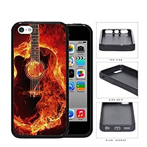 Acoustic Guitar Burning With Fire Flames Rubber Silicone TPU Cell Phone Case Apple iPhone 4s