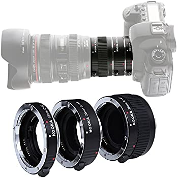 Micnova KOOKA KK-C68 Pro Auto Focus Macro Extension Tube Set for Canon EOS EF & EF-S Mount 5D2 5D3 6D 650D 750D With 12mm 20mm and 36mm Tubes
