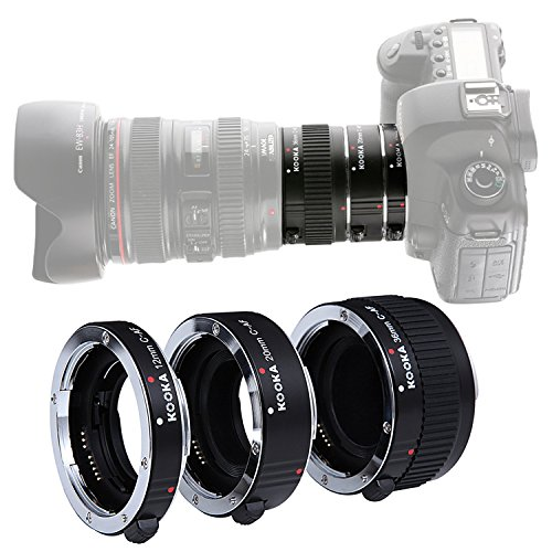KOOKA KK-C68 Pro Auto Extension Tube Set for Canon EOS AF Mount With 12mm 20mm and 36mm Tubes