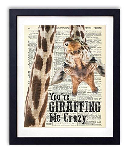 (You're Giraffing Me Crazy Upcycled Vintage Dictionary Art Print 8x10)