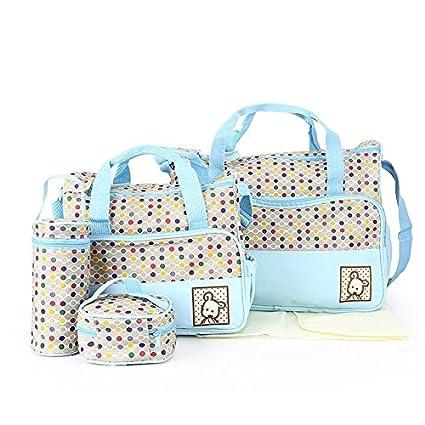 Babyhugs® 5 PCS à langer Messenger Sac maternité hôpital avec ensemble de pois coloré – Bleu clair