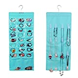 PT Life Hanging Jewelry Organizer With 26 Storage Pockets 12 Hook and Loops For Necklace (Blue)