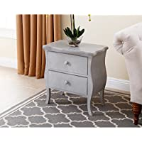Traditional Solid Belvedere Antiqued 2 Drawer Wood End Table, Grey (MD-F150156V3-GRY). 26.5 in High x 24.5 in Wide x 15 in Deep - Assembly Required