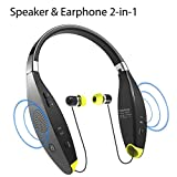 Avantree Portable Around The Neck Wearable Wireless Speaker, Foldable Bluetooth Neckband Headphones with Retractable Earbuds and Microphone - NB03