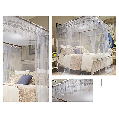 ASDFGH U-Track Lace Canopy Mosquito Netting, Palace Princess Bed Canopy Fine mesh Mosquito net Stainless Steel Bracket, Keeps Away Insects & Flies-Gray 200x220cm(79x87inch) by ASDFGH (Image #1)