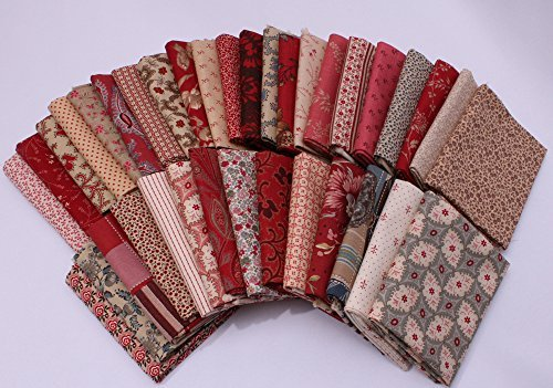 Calico Quilting Fabric - Field's Fabrics 10 Fat Quarters - Assorted Moda French General France Calico Floral Flowers Red Pink Blue Cream Classic Reproduction Quality Quilters Cotton Fat Quarter Bundle M229.01