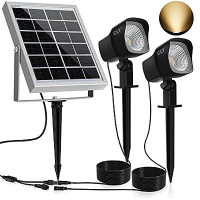 CLY Solar Spotlights LED Solar Landscape Lights 2 in 1 Solar Spot Lights Outdoor IP66 Waterproof Solar Powered Lights Wall Lights Security Lighting for Outdoor Garden Yard Downlight (Warm White)