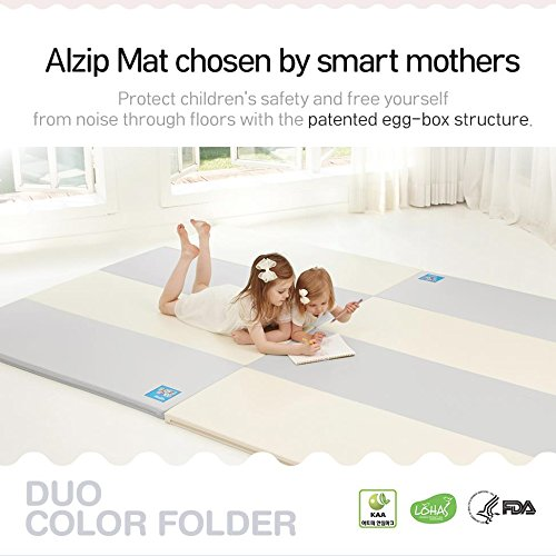 [Alzip Mat] Baby Playmat - ECO Color Folder Duo (Non-Toxic, Non-Slip, Waterproof) (Eco Duo Gray, XG) by Alzipmat (Image #2)