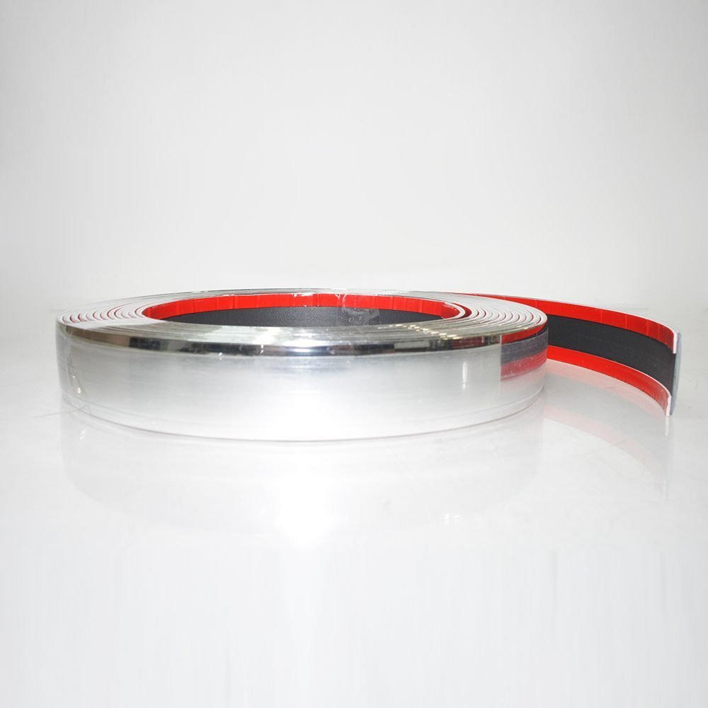 20mm x 3 meter Chrom Zierleiste Leisten Chromleiste Selbstklebend Flexibel Kunststoff