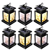 Solar Lanterns Outdoor, JSOT 30 LED Hanging Decor Fairy Lights Waterproof Tabletop Lamps for Garden Table Patio Umbrella (Yellow Light - 6pcs)