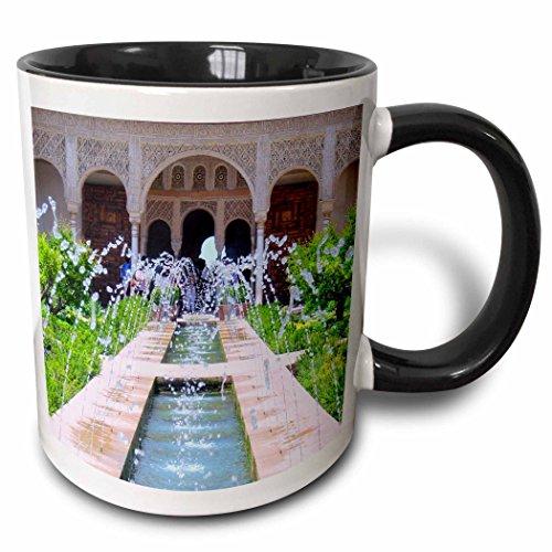 3dRose InspirationzStore Photography - Water Fountains at Alhambra palace gardens in Grenada Spain - Islamic Turkish Muslim fretwork arches - 15oz Two-Tone Black Mug (mug_112956_9) ()