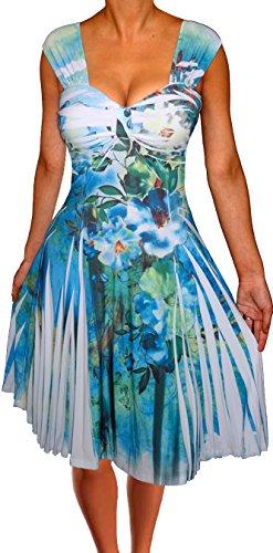 Marilyn Monroe Fancy Dress Size 8 (Funfash NL09 Plus Size Women Empire Waist Blue White Floral Cocktail Dress)