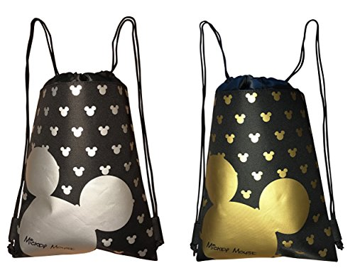 Disney Mickey Mouse Drawstring Backpack Bag Pack of 2 -