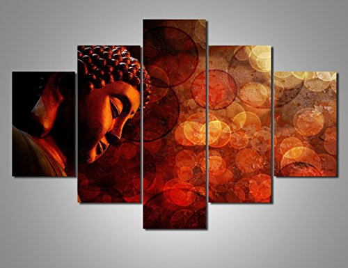- 5 Piece Canvas Wall Art for Living Room Bronze Zen Buddha Statue Painting Grunge Red Pictures Modern Artwork Home Decoration Posters and Prints Giclee Framed Stretched Ready to Hang(60''Wx40''H)