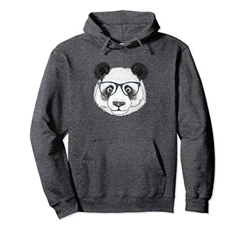 Unisex Premium Cute Funny Panda Nerd With Glasses Hoodie 2XL Dark - With Panda Glasses